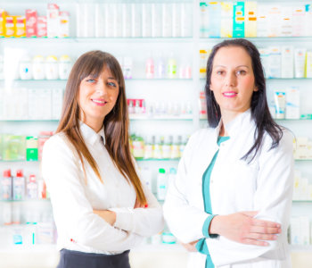 pharmacist and woman smiling